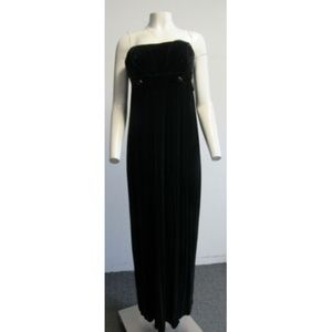 NWT VERA WANG long navy blue velvet gown/dress 36